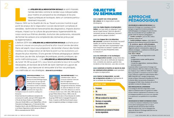 Page 2 et 3 de la brochure des ateliers de la négociation sociale