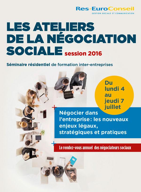 Brochure des Ateliers de la négociation sociale 2016