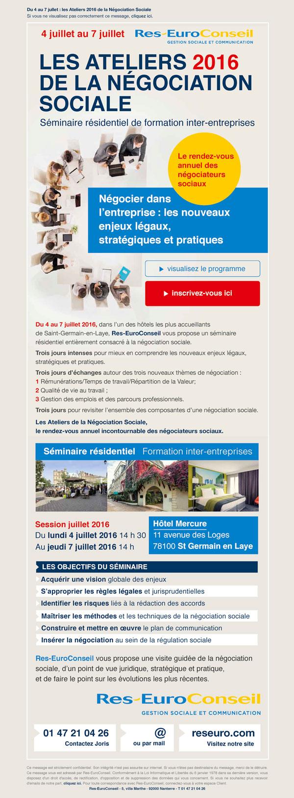 Emailing promotionnel des Ateliers de la Négociation 2016